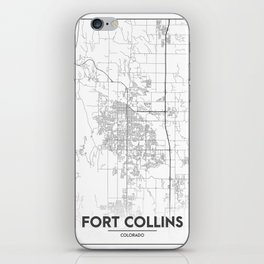 Minimal City Maps - Map Of Fort Collins, Colorado, United States iPhone Skin