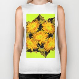 Decorative Chartreuse Golden Flowers Leaves Black Art Biker Tank