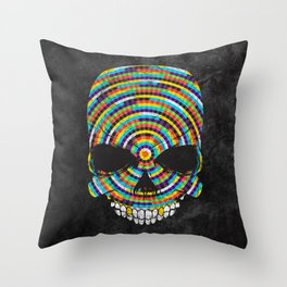 Hypnotic Skull Throw Pillow