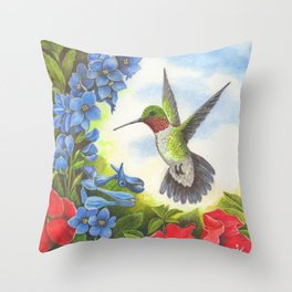 Hummingbird and Delphiniums Throw Pillow