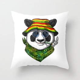 Panda Smoking Weed Throw Pillow
