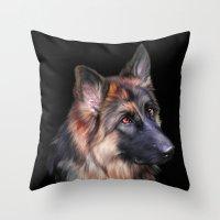 german Throw Pillows featuring German Shepherd by Julie Hoddinott