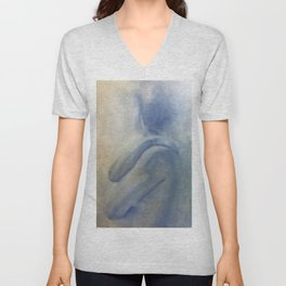 Nude in Blue, White, and Yellow Unisex V-Neck