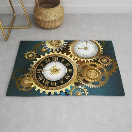 Two Steampunk Clocks with Gears Rug