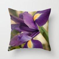 iris Throw Pillows featuring Iris by Light Wanderer