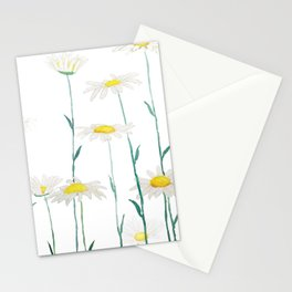 white daisy watercolor horizontal Stationery Cards