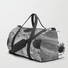 MODERN ABSTRACT BLACK & WHITE FLOWERS GARDEN  ART Duffle Bag
