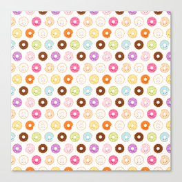 Happy Cute Donuts Pattern Canvas Print