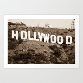 The Famous Hollywood Sign in Hollywood California in Sepia Art Print