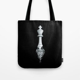 Farewell to the Pale King / 3D render of chess king breaking apart Tote Bag