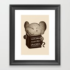 Elephant Overcoming Your Mice Phobia Framed Art Print