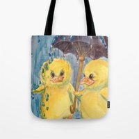 ducks Tote Bags featuring Ducks by Corinne Fallone