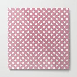 Puce Pink and White Polka Dot Pattern Metal Print
