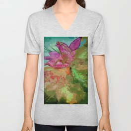 Abtract leaves and flower Unisex V-Neck