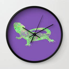 Bearded Dragon Vintage Floral Pattern Purple Green Mint Pink Shabby Chic Wall Clock