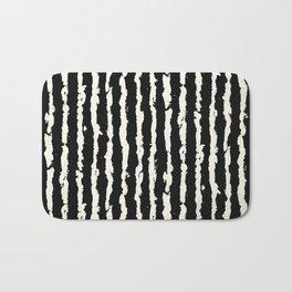 Simple Tattered Line Cream on Black Minimal Abstract Bath Mat