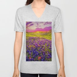 Blue Bonnet Sunset landscape painting Unisex V-Neck