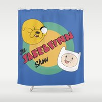 finn and jake Shower Curtains featuring The Jake & Finn Show. by Agu Luque
