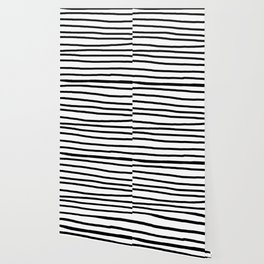 Simply Drawn Stripes in Midnight Black Wallpaper