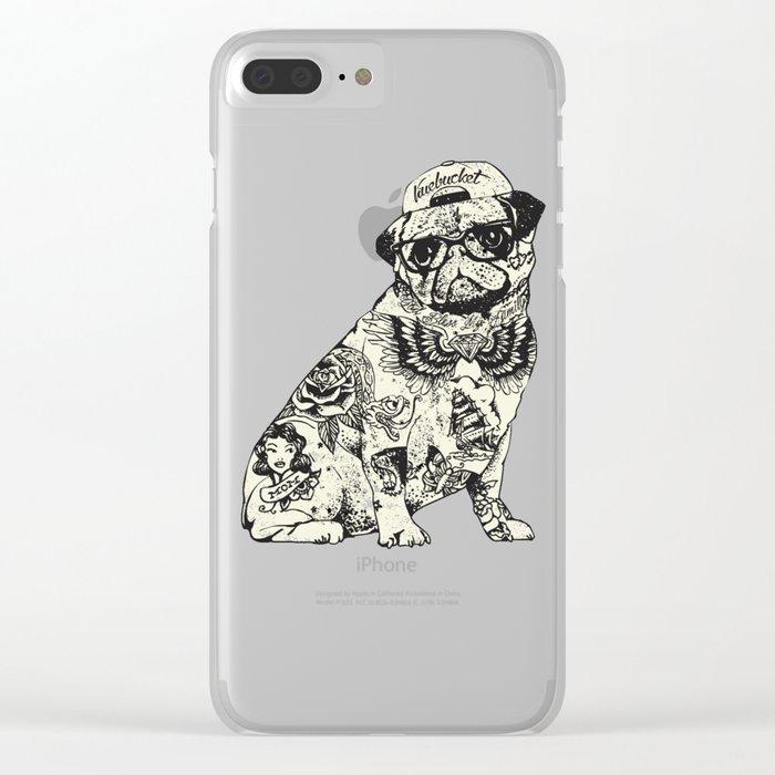 Pug Tattoo Clear iPhone Case