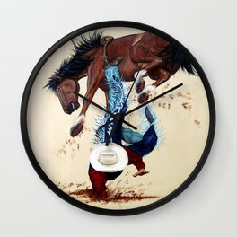 Thrown Rodeo Cowboy Wall Clock