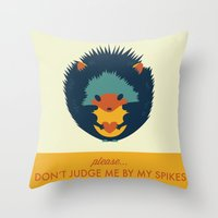 hedgehog Throw Pillows featuring Hedgehog by Ariel Wilson