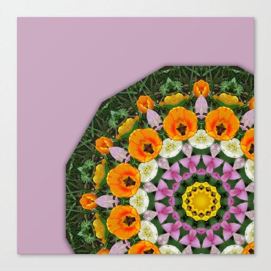 Tulips Nature, Flower-Mandala Canvas Print