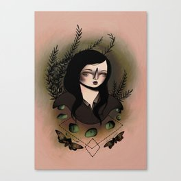 Girl With Moths Canvas Print