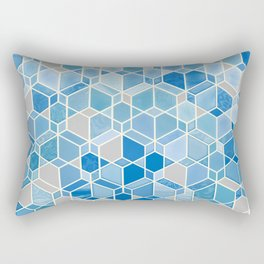 Cubes & Diamonds in Blue & Grey  Rectangular Pillow