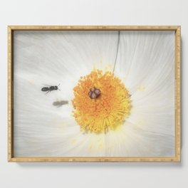 """Bee and Prickly Poppy 3"" by Murray Bolesta! Serving Tray"