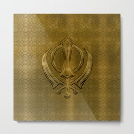 Vintage metal gold Khanda symbol Metal Print