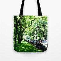 literary Tote Bags featuring Literary Walk at Central Park, New York City   by Lissette