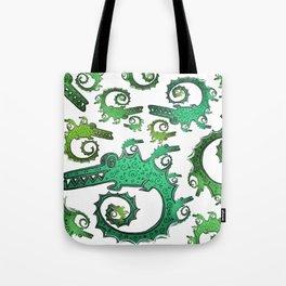 Crazy Fractal Alligators Tote Bag