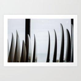 Through the surfboards Art Print