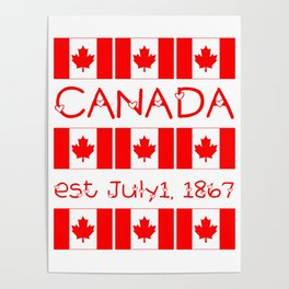 Canada Day Maple Leaf Pattern Canadian Flag Poster