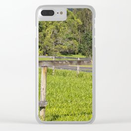 Broken fence in a rural area Clear iPhone Case