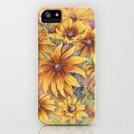 Rudbeckia Bouquet of yellow autumn flowers Floral pastel drawing Still life iPhone Case
