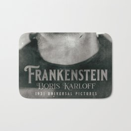 Frankenstein, vintage movie poster, Boris Karloff, horror film, Mary Shelley book cover Bath Mat