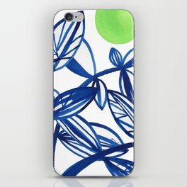 Navy blue and lime green abstract leaves iPhone Skin