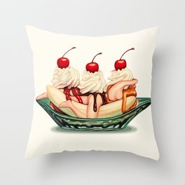 Sundae Best: Banana Split Throw Pillow