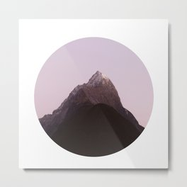 Mountain Series - Mitre Peak Circle Metal Print
