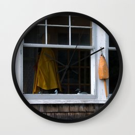 Looking through the Window of a Coastal Home in Maine Wall Clock