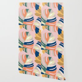 Monstera leaf Jungle mid century modern paper collage Wallpaper