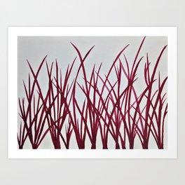 Red grass Art Print