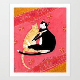 Cats on a rug Tuxedo cat and Orange Tabby by Tascha Art Print