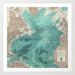 Vintage Green Transatlantic Mapping Art Print