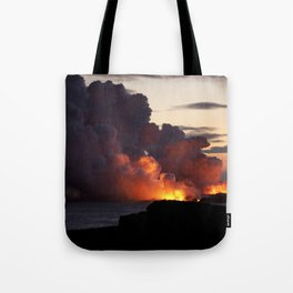 Lava Vaporizes Ocean Tote Bag