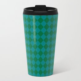 Teal Green and Cadmium Green Diamonds Travel Mug