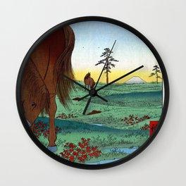 Hiroshige - 36 Views of Mount Fuji (1858) - 33: Kogane Plain in Shimōsa Province Wall Clock