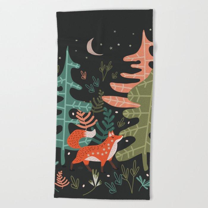 Evergreen Fox Tale Beach Towel